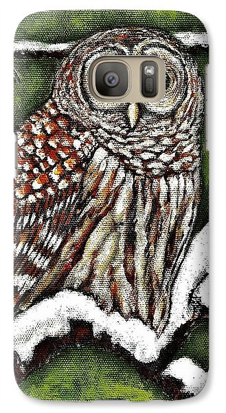 Galaxy Case featuring the painting Barred Owl by VLee Watson