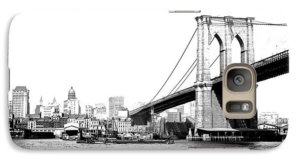 Galaxy Case featuring the photograph Black And White Abstract City Photography...brooklyn Bridge by Amy Giacomelli