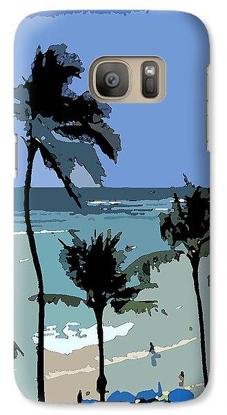 Galaxy Case featuring the digital art Blue Beach Umbrellas by Karen Nicholson