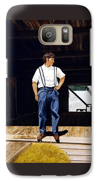 Galaxy Case featuring the painting Boy In The Barn by Ron Haist