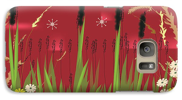 Galaxy Case featuring the digital art Cattails by Kim Prowse
