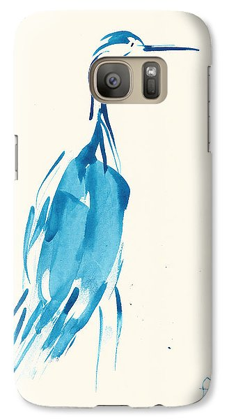 Galaxy Case featuring the painting Egret In Blue Watercolor by Frank Bright