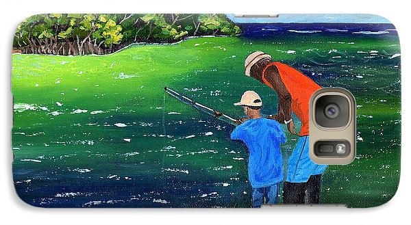 Galaxy Case featuring the painting Fishing Buddies by Laura Forde