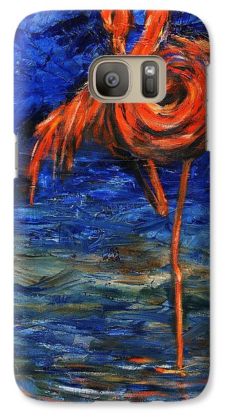 Galaxy Case featuring the painting Flamingo by Xueling Zou