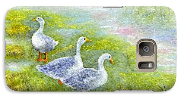 Galaxy Case featuring the painting Geese At Sunset by Jeanne Kay Juhos