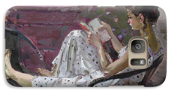 Girl Reading Galaxy Case by Ylli Haruni