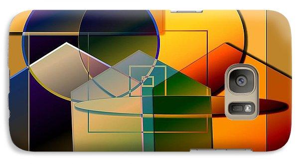 Galaxy Case featuring the digital art Golden Circles by Iris Gelbart