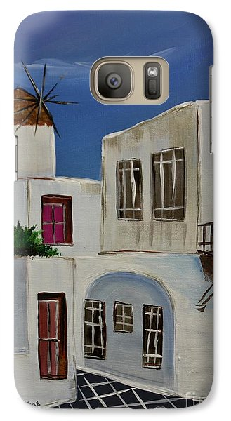 Galaxy Case featuring the painting Greek Village by Janice Rae Pariza