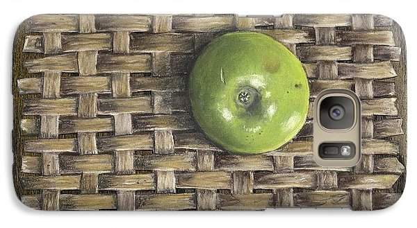 Galaxy Case featuring the painting Green Apple On Basket by Claude Schneider