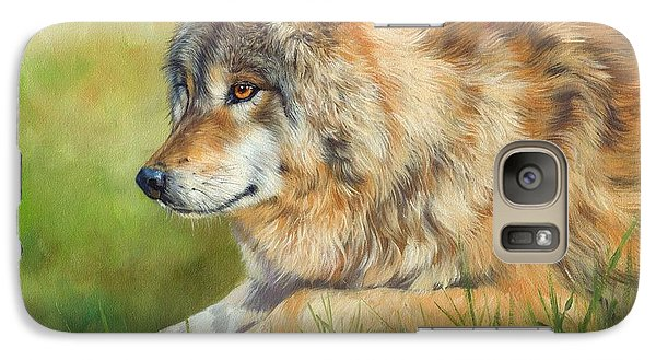 Grey Wolf Galaxy Case by David Stribbling