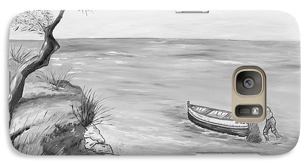 Galaxy Case featuring the painting Il Pescatore Solitario by Loredana Messina