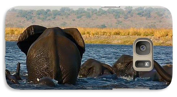 Galaxy Case featuring the photograph Kalahari Elephants Crossing Chobe River by Amanda Stadther