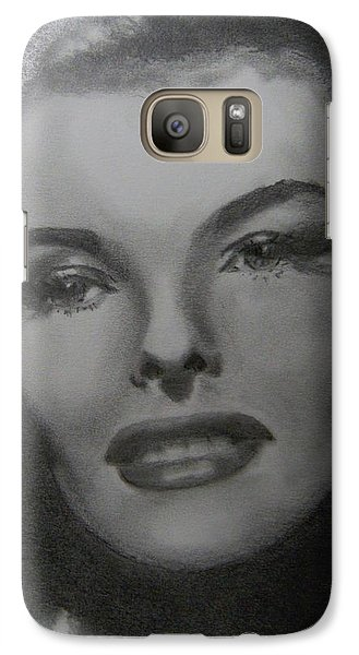 Galaxy Case featuring the drawing Kathryn Hepburn by Lori Ippolito