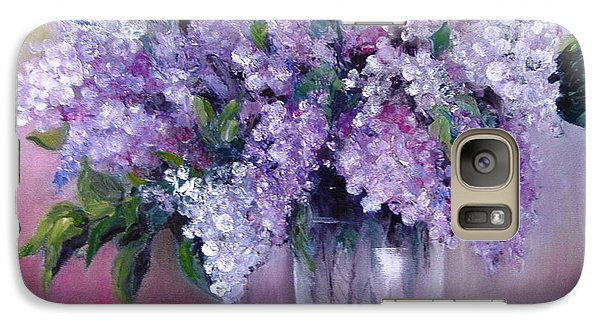 Galaxy Case featuring the painting Lilac by Nina Mitkova
