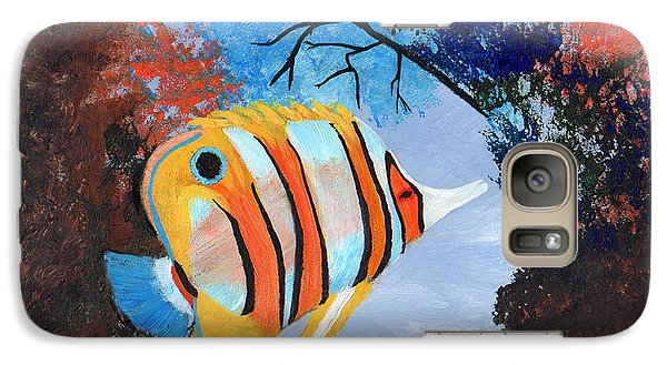 Galaxy Case featuring the painting Longnose Butterfly Fish by J Cheyenne Howell