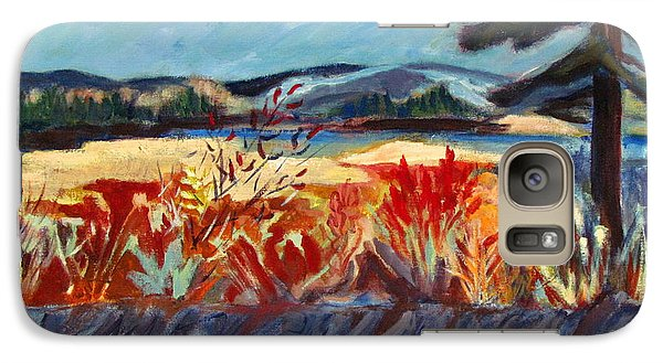 Galaxy Case featuring the painting Moon On Farm Land by Betty Pieper