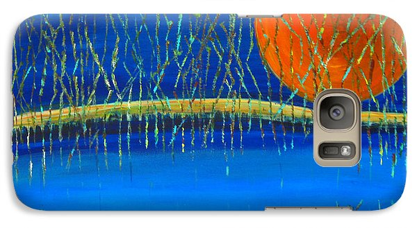 Galaxy Case featuring the painting Moon Shadow by Patricia Januszkiewicz