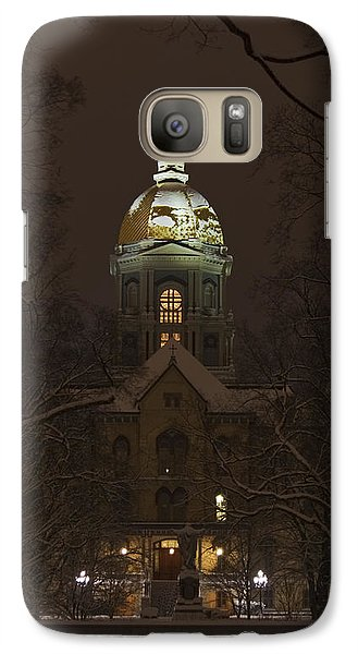 Notre Dame Golden Dome Snow Galaxy S7 Case by John Stephens