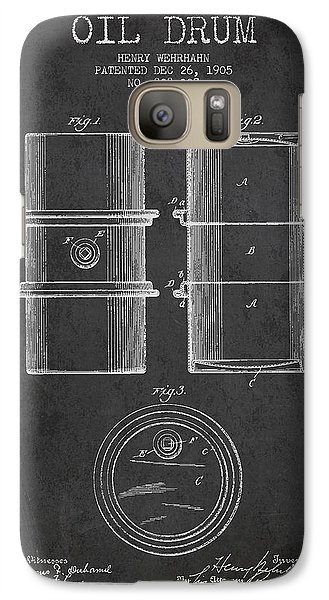 Drum Galaxy S7 Case - Oil Drum Patent Drawing From 1905 by Aged Pixel