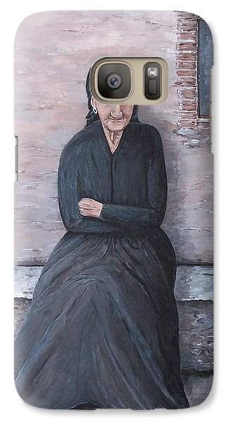 Galaxy Case featuring the painting Old Woman Waiting by Judy Kirouac