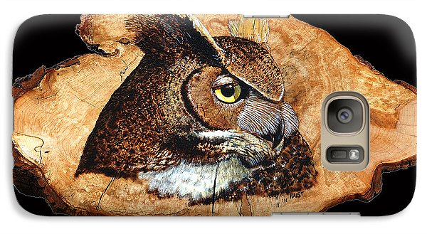 Galaxy Case featuring the pyrography Owl On Oak Slab by Ron Haist