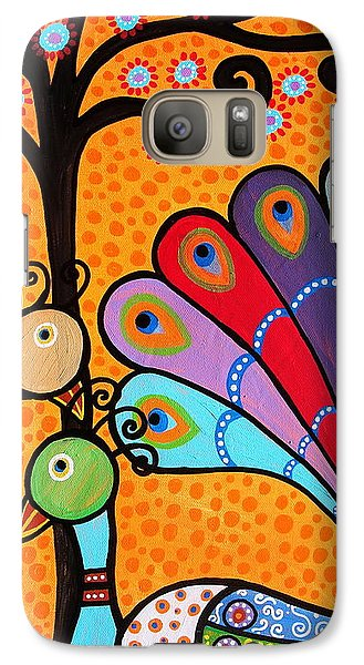 Galaxy Case featuring the painting 2 Peacocks And Tree by Pristine Cartera Turkus
