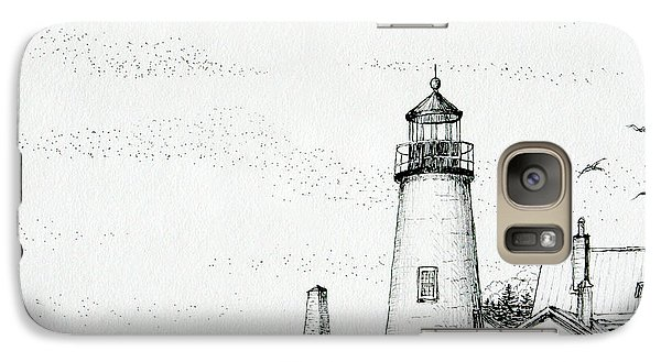 Galaxy Case featuring the drawing Pemaquid Point Lighthouse by Mariarosa Rockefeller