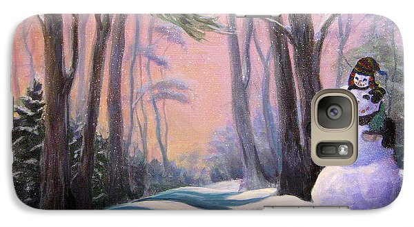 Galaxy Case featuring the painting Piggyback Ride In Snow by Gretchen Talmage Allen