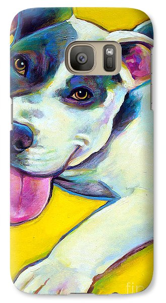 Galaxy Case featuring the painting Pit Bull Puppy by Robert Phelps