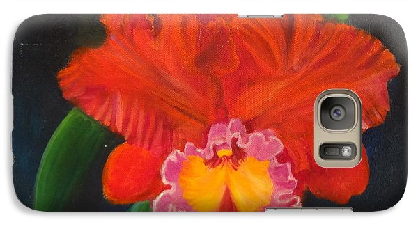 Galaxy Case featuring the painting Red Orchid by Jenny Lee