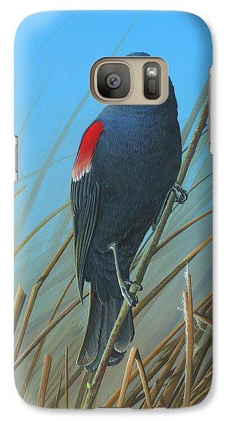 Galaxy Case featuring the painting Red-winged Black Bird by Mike Brown
