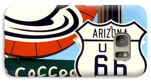 Galaxy Case featuring the digital art Route 66 Coffee by Valerie Reeves