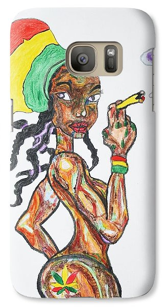 Galaxy Case featuring the painting Smoking Rasta Girl by Stormm Bradshaw