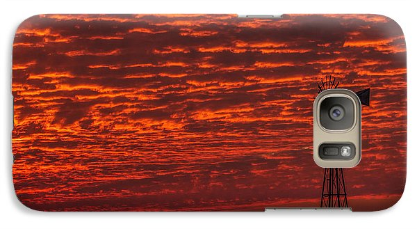 Galaxy Case featuring the photograph Sunset And Windmill by Rob Graham