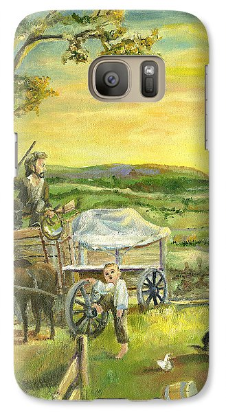 Galaxy Case featuring the painting The Farm Boy And The Roads That Connect Us by Mary Ellen Anderson
