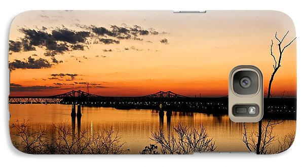 Galaxy Case featuring the photograph The Mississippi River Bridge At Natchez At Sunset.  by Jim Albritton
