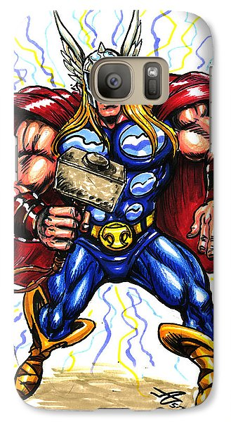 Galaxy Case featuring the drawing Thor  by John Ashton Golden