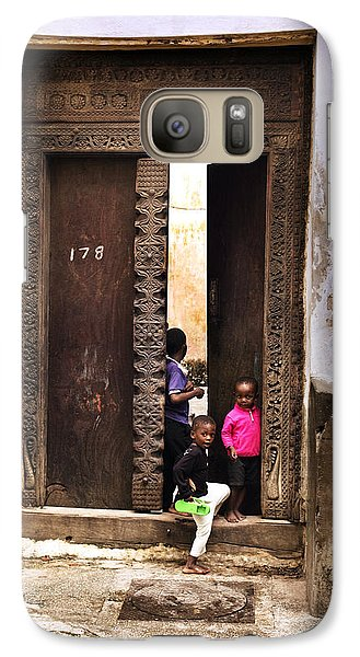 Galaxy Case featuring the photograph Kids Playing Zanzibar Unguja Doorway by Amyn Nasser
