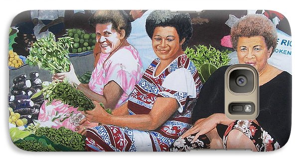 Galaxy Case featuring the mixed media Three Nice Ladies At A Fiji Market by Constance Drescher