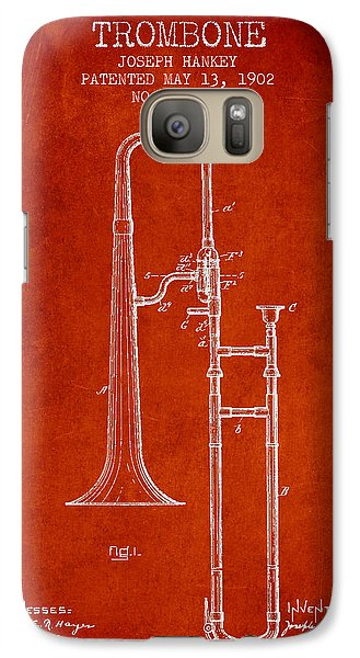 Trombone Galaxy S7 Case - Trombone Patent From 1902 - Red by Aged Pixel