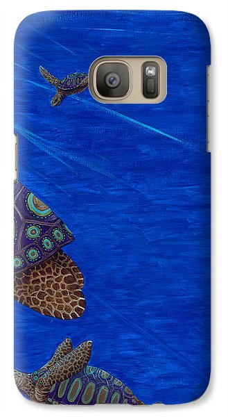 Galaxy Case featuring the painting Turtle Painting Bomber Triptych 3 by Rebecca Parker