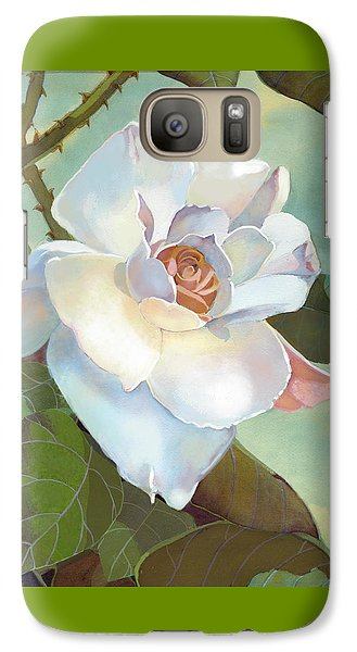 Galaxy Case featuring the mixed media Unicorn In The Garden by J L Meadows