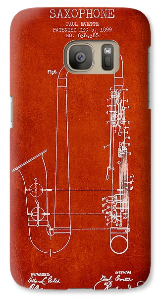 Saxophone Patent Drawing From 1899 - Red Galaxy S7 Case by Aged Pixel