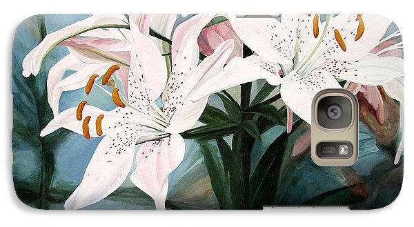 Galaxy Case featuring the painting White Lilies by Laurie Rohner