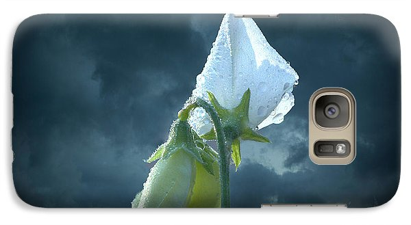 Galaxy Case featuring the photograph White Sweet Pea  by Marjorie Imbeau