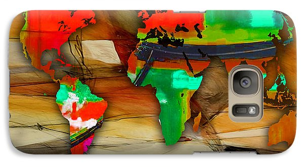 World Map Watercolor Galaxy Case by Marvin Blaine