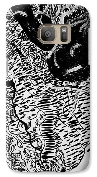 Galaxy Case featuring the drawing Dinka Dance - South Sudan by Gloria Ssali