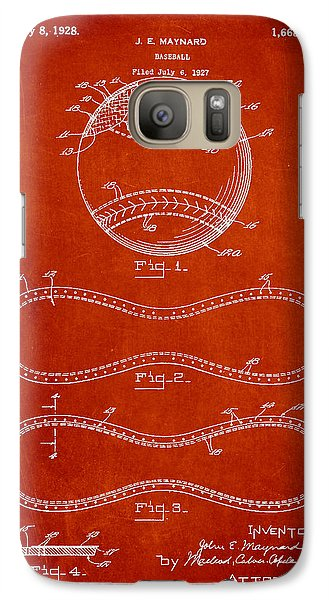 Softball Galaxy S7 Case - Baseball Patent Drawing From 1927 by Aged Pixel