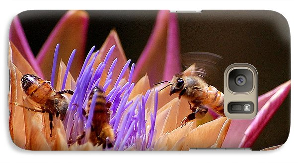 Galaxy Case featuring the photograph Bees In The Artichoke by AJ  Schibig
