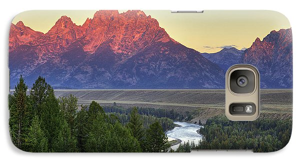 Galaxy Case featuring the photograph Grand Tetons Morning At The Snake River Overview - 2 by Alan Vance Ley